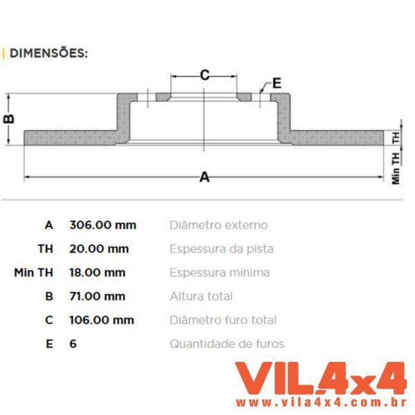 DISCO DE FREIO TRAS SOLIDO P/ TROLLER 01 A 14 FREMAX BD1033